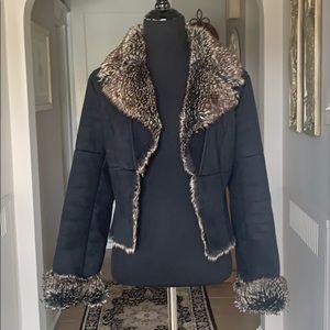 Express Black Faux Suede/Fur Lined Jacket